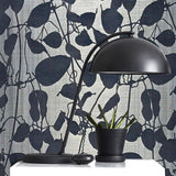 135050 Gray Blue Flock Velvet Portofino Wallpaper - wallcoveringsmart