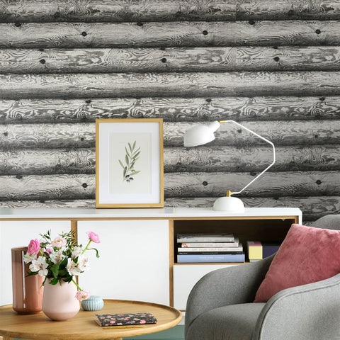 V322-12 Charcoal Grey Wood Deck Board Wallpaper