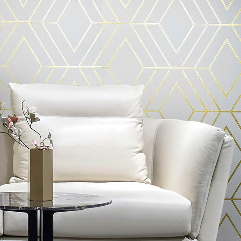 WM42344 Geometric White Gold Glitter Wallpaper