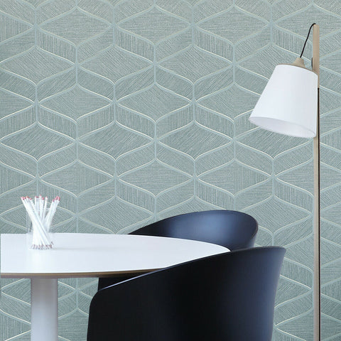 Z63034 Zambaiti Teal green gold faux fabric textured geometric wave lines Wallpaper