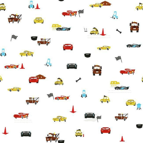 DI0921 York Disney and Pixar Cars Racing Spot Unpasted White Wallpaper