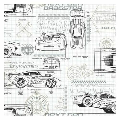 DI0917 York Neutral Disney and Pixar Cars Schematic Unpasted Wallcoverings