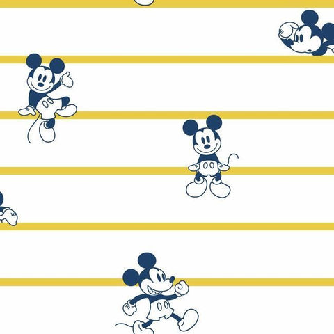 DI0931 York Disney Mickey Mouse Stripe Unpasted Yellow Wallpaper