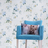 WM7802601 floral Wallpaper roll blue flowers rustic white cream Textured faux textile