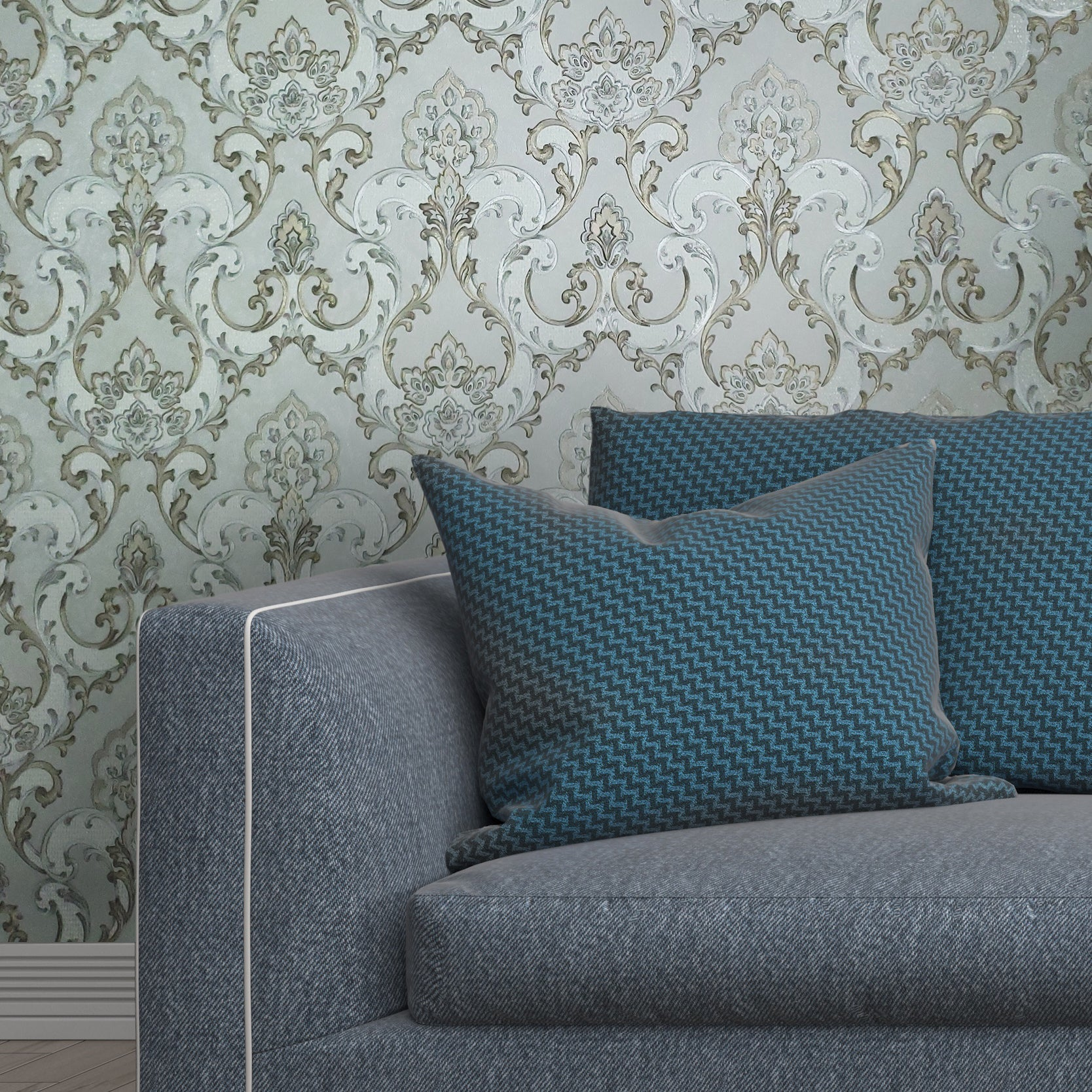 V512 06 Gray Gold Silver Metallic Textured Wallpaper Damask