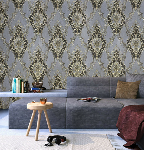 8611-10 Victorian Vintage damask gray black gold bronze Textured Wallpaper