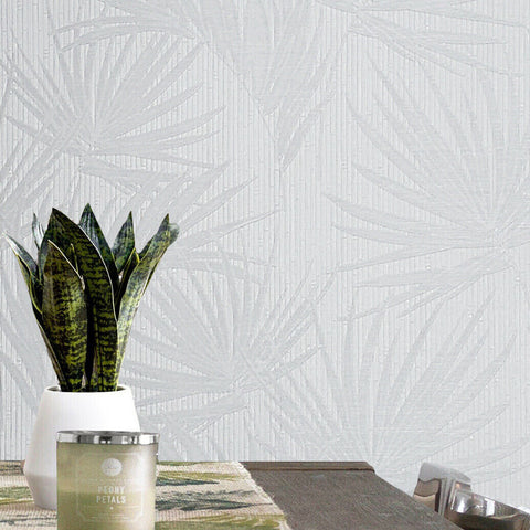 Z63007 Zambaiti White bamboo textured tropical leaf jungle palm leaves Wallpaper