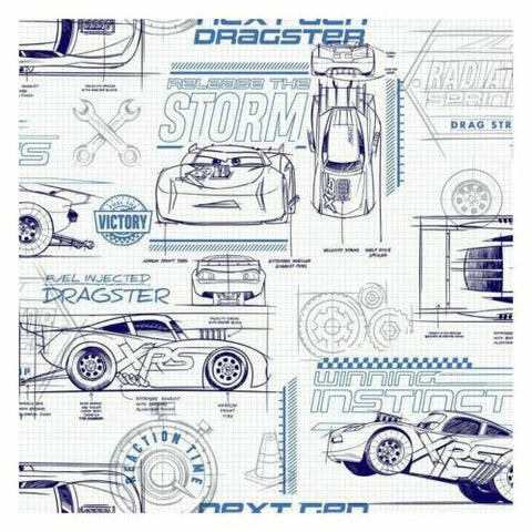 DI0916 York Blue Disney and Pixar Cars Schematic Unpasted Wallcoverings