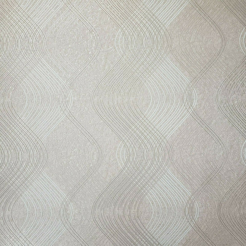 8602-06 Slavyanski Peach tan pearl cream metallic textured wave lines Wallpaper