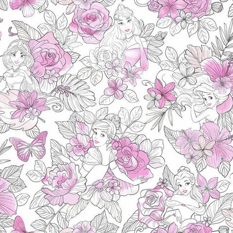 DI0965 York Wallpaper Disney Princess Royal Floral Unpasted Magenta