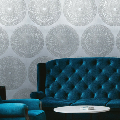 215026 Portofino lace teal Glassbeads blue silver foil Metallic lines Wallpaper