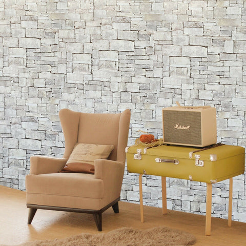 5636-01 Olive green purple brown modern faux stone textured 3D Wallpaper
