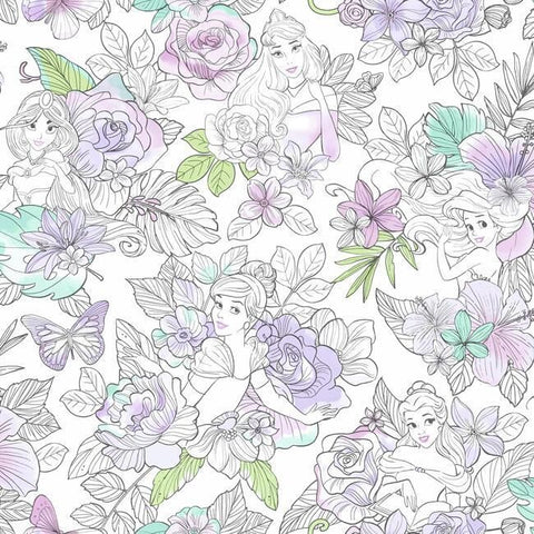 DI0964 York Wallpaper Disney Princess Royal Floral Unpasted Lilac Wallcoverings
