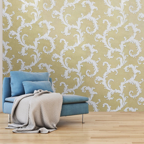 76063 Wallpaper gold metallic white damask faux sack cloth Textured