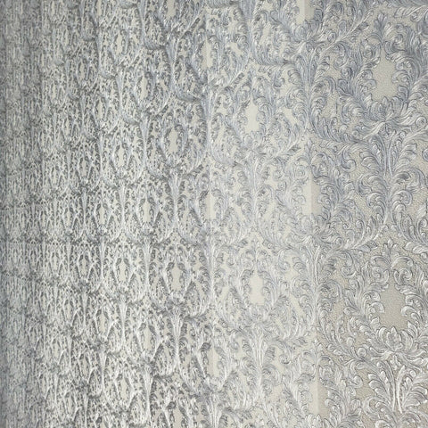 4506-03 Striped Victorian damask white gray silver metallic Textured Wallpaper
