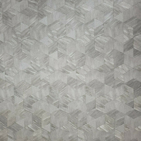 Z44525 Zambaiti gray silver metallic faux cow skin textured geometric Wallpaper