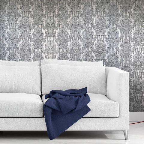 8102-06 Silver Gray Damask Duplex Wallpaper