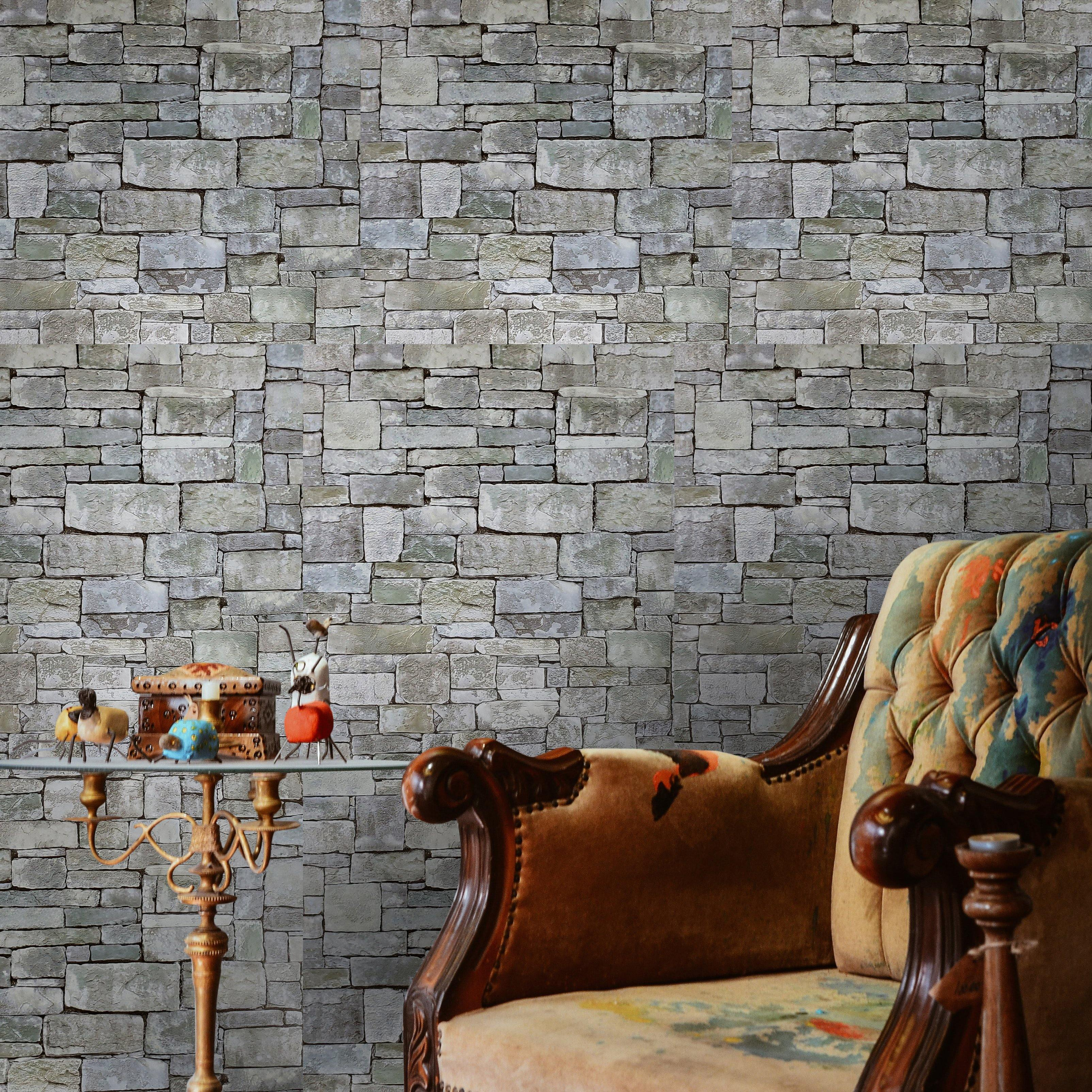 Wallpaper textured olive green gray modern faux stone textures wallcoverings 3D