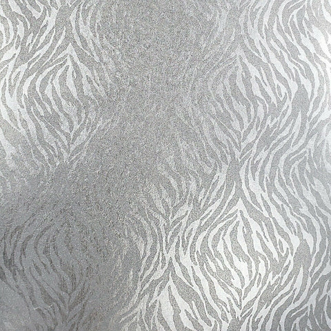 215007 Portofino Animal Tiger Zebra  Glassbeads textured silver Metallic Wallpaper