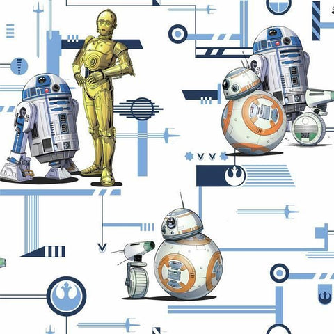DI0948 York Star Wars: The Rise of Skywalker, Droids Unpasted Blue Wallpaper