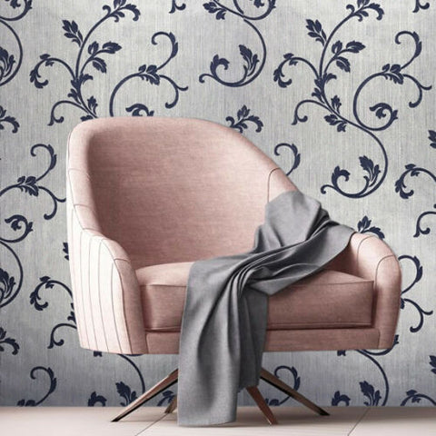 175003 Damask Flocking Silver Blue Portofino Wallpaper