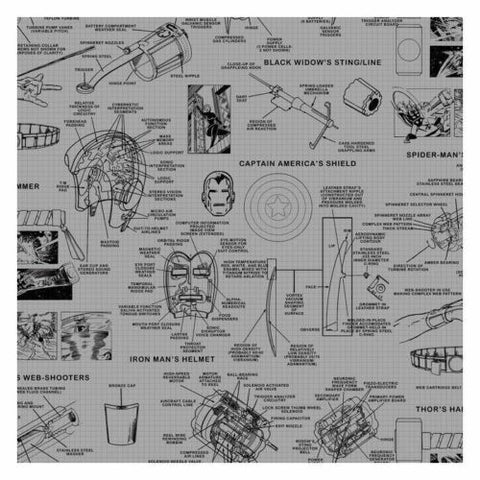 DI0936 York Gray Black Marvel's Heroes Schematics Unpasted Wallcoverings