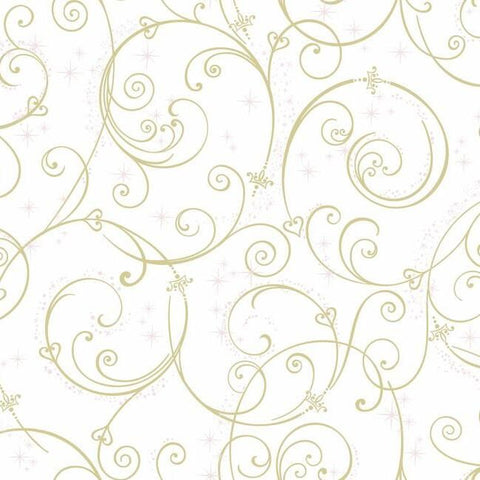 DI0905 York Disney Princess Perfect Scroll Unpasted Gold Wallpaper
