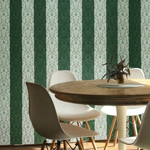 4506-04 Striped Victorian damask green brass steel metallic Textured Wallpaper