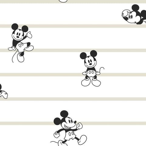 DI0932 York Disney Mickey Mouse Stripe Unpasted Neutral Wallpaper
