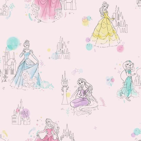 DI0969 York Disney Wallpaper Princess Pretty Elegant Unpasted Pink Wallcoverings