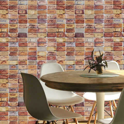 5678-06 Red Orange gray textured 3D faux vintage stone brick Wallpaper