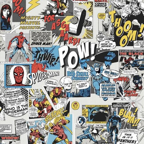 DI0944 York Wallpaper Marvel Comics Pow Unpasted Primary Wallcoverings
