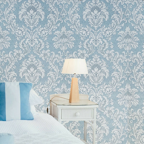 Z63024 Zambaiti Blue white textured victorian damask faux fabric texture Wallpaper