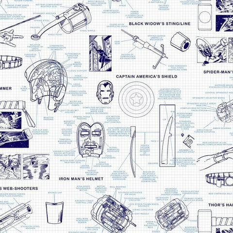 DI0935 York Blue Marvel's Heroes Schematics Unpasted Wallcoverings