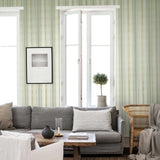 8523-04 Green Gold Striped Wallpaper