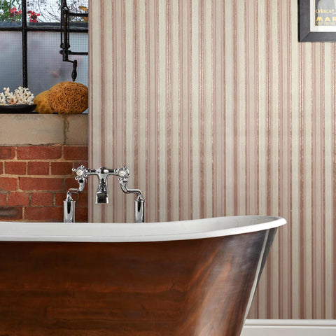8523-02 Rose Gold Pink Stripe Wallpaper