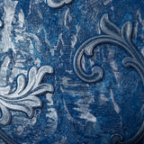 L903-03 Blue Silver Metallic Victorian Textured Damask Wallpaper