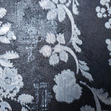 76007 Black Silver Floral Textured Wallpaper