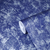 76040 Royal Blue Silver Metallic Concrete Textured Wallpaper