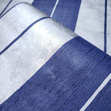 76054 Navy Blue stripes Silver Metallic Striped Textured Wallpaper