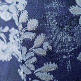 76006 Blue Silver Metallic Vintage Floral Diamond Wallpaper