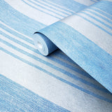 305021 Embossed Striped Non-woven Wallpaper blue silver modern lines Metallic stripes