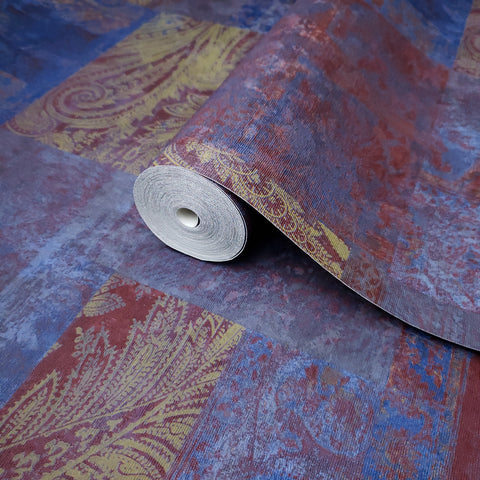 310027 Portofino Blue Burgundy Paisley Rustic Wallpaper