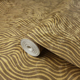 300023 Gold Textured Tiger faux animal waves fur Wallpaper
