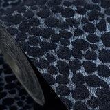 115014 Flocked Charcoal Black Flock Spot Dot Cheetah Fur Flocking Wallpaper - wallcoveringsmart