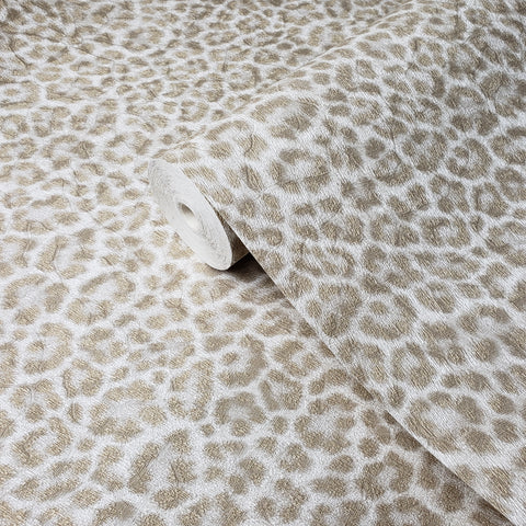 255052 Leopard Cheetah white Gold Faux Animal Fur Wallpaper