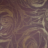 125010 Wallpaper burgundy Gold Metallic Textured large flowers floral Roses 3D