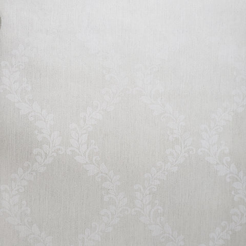305027 Victorian Wallpaper off white cream metallic floral Damask