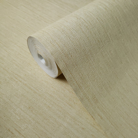 75804 Cream Brulee Plain Stria Stripe Textured Wallpaper