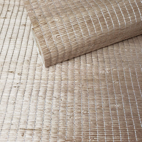 WM363-547069 Light Brown Silver Thread Grasscloth Wallpaper